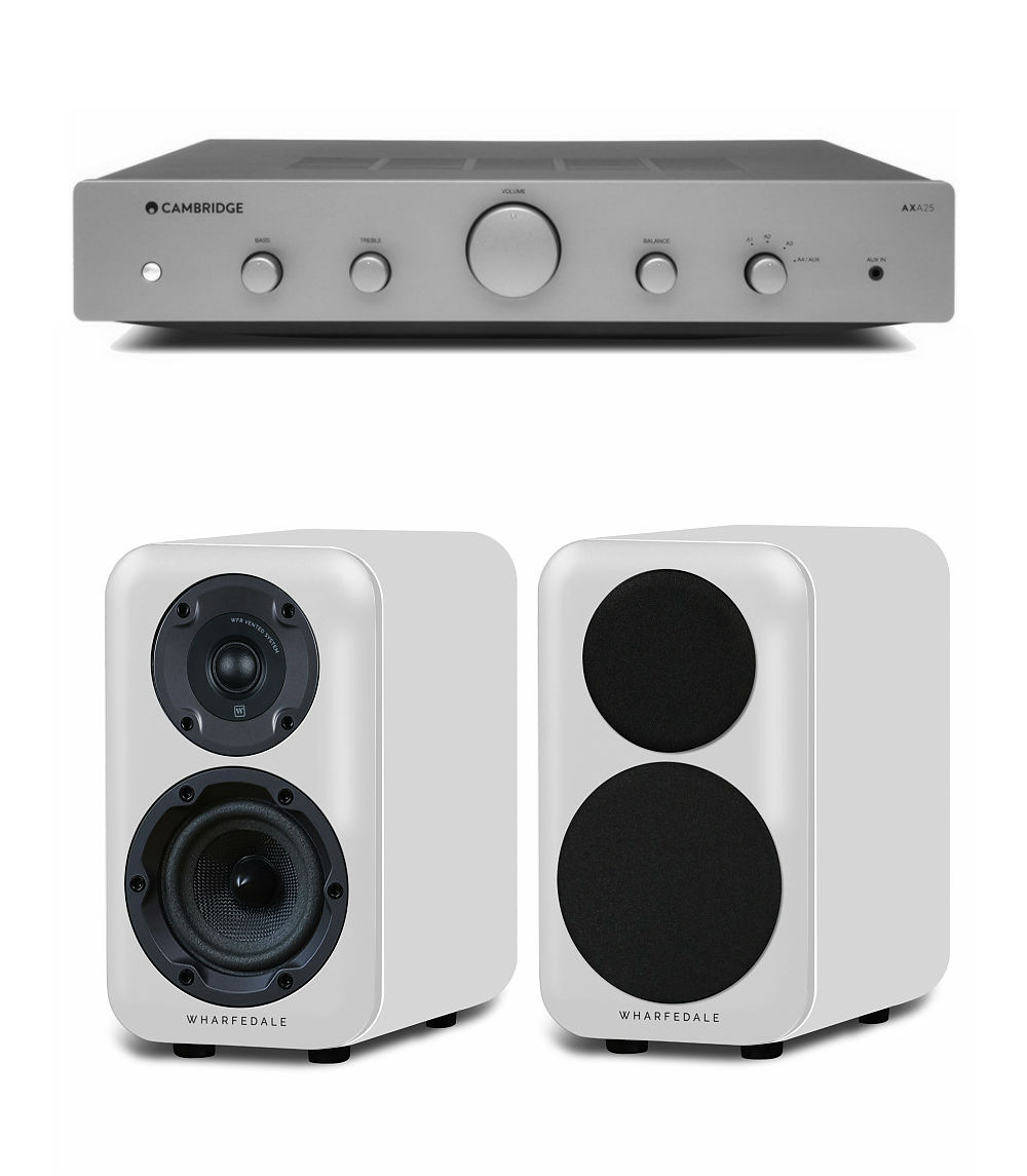 Комплект стерео Wharfedale Diamond 320 White + Cambridge Audio AXA25 Grey